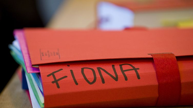 Un dossier dans la salle d'audience où se déroule le procès de l'affaire Fiona, le 17 novembre 2016, à Riom (Puy-de-Dôme). (THIERRY ZOCCOLAN / AFP)