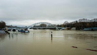 La Seine en crue, à Paris, mardi 23 janvier 2018. (EDOUARD RICHARD / HANS LUCAS / AFP)