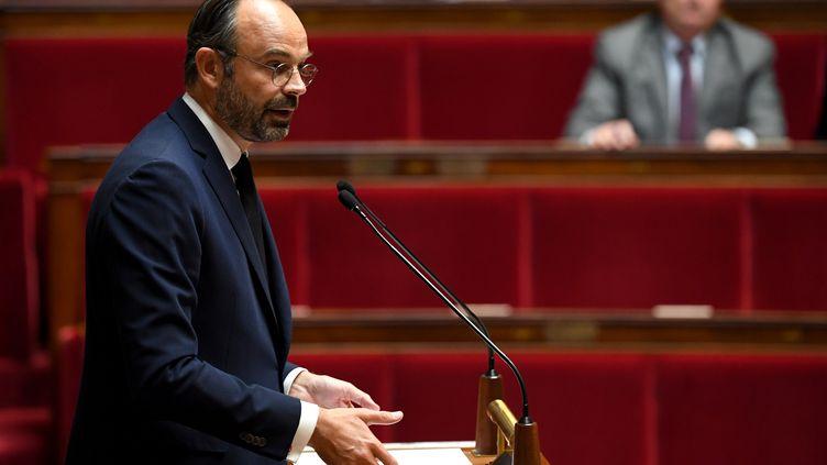 Le Premier ministre, Edouard Philippe, prononce un discours lors d'un débat sur la politique d'immigration de la France, à l'Assemblée nationale, le 7 octobre 2019. (ALAIN JOCARD / AFP)