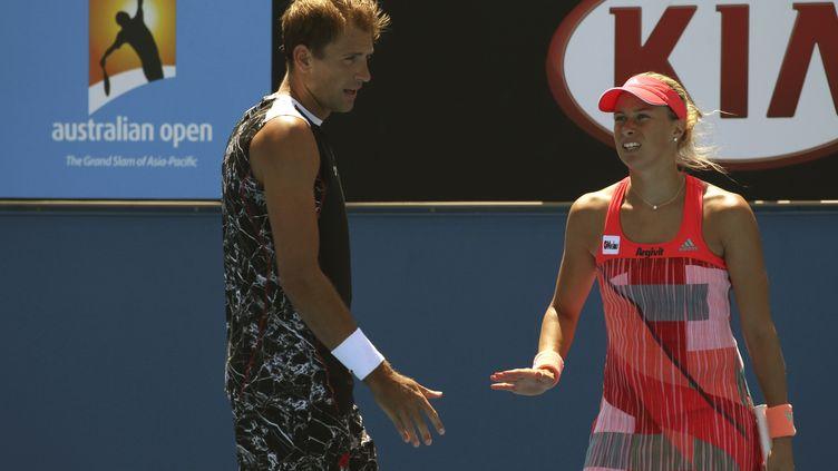 Les Tchèques Lukasz Kubot et Andrea Hlavackova ensemble en double mixte à l'Open d'Australie (? JOHN FRENCH / REUTERS / X03566)