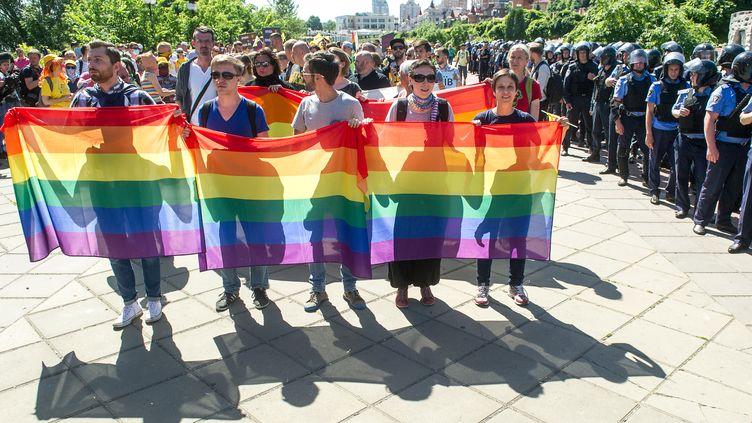 """Des militants LGBT lors de la """"marche pour l'égalité"""" à Kiev en Ukraine, le 6 juin 2015. (VOLODYMYR SHUVAYEV / AFP)"""