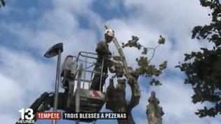 Une mini-tornade a frappé Pézenas (Hérault) et faitquelques blessés légers, mercredi 28 juin. Ce jeudi, les habitants constatent les dégâts. (FRANCE 2)