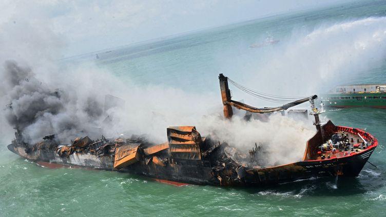 """Le """"MV X-Press Pearl"""", porte-conteneurs immatriculé à Singapour, pris en photo par les forces aériennes sri-lankaises, le 29 mai 2021. (ARMEE DE L'AIR DU SRI LANKA)"""
