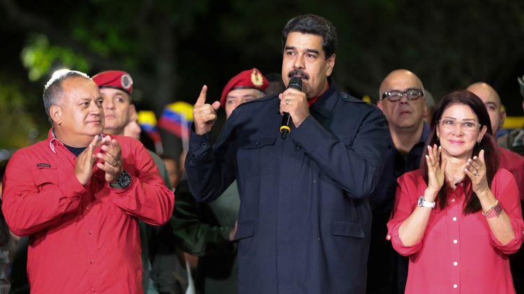 Le président du Venezuela, Nicolas Maduro, le soir des élections régionales, le 15 octobre 2017, à Caracas (Venezuela). (REUTERS)