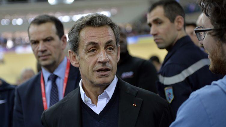 Le président de l'UMP Nicolas Sarkozy àSaint-Quentin-en-Yvelines (Yvelines), le 22 février 2015. (LOIC VENANCE / AFP)