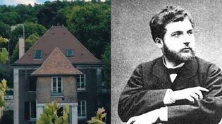 La maison de Bizet, à Bougival dans les Yvelines (gauche), et un portrait de George Bizet (droite). (CAPTURE D'ÉCRAN / DARTAGNANS.FR)