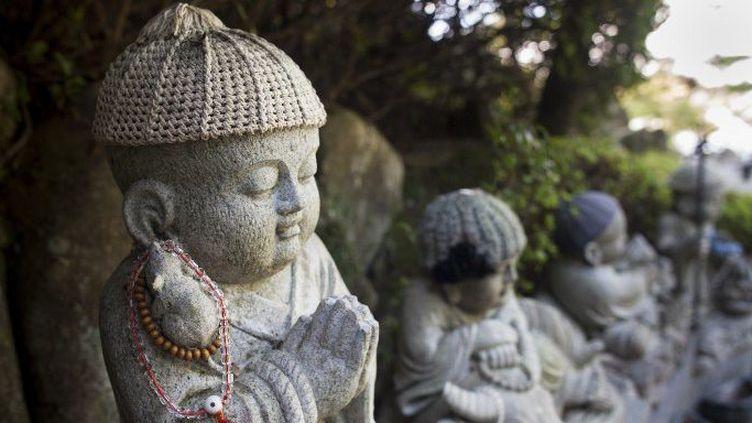 Sculpture de bouddha au temple de Daisho, sur l'île de Miyajima (Japon).  (Antoine Boureau / Biosphoto)