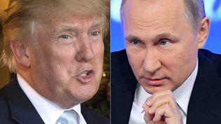 Montage d'une photo de Donald Trump, le 28 décembre 2016, à Palm Beach (Floride, Etats-Unis), et, d'une photo de Vladimir Poutine, à Moscou, le 23 décembre 2016. (DON EMMERT / AFP)