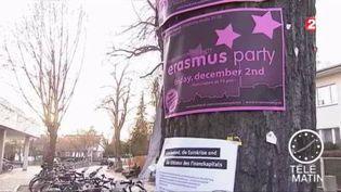 Une affiche pour une fête pour les étudiants du programme Erasmus (FRANCE 2)