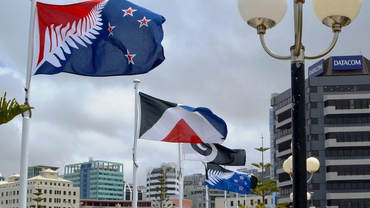 Les différents modèles pour le nouveau drapeau de la Nouvelle-Zélande, photographiés le 11 décembre 2015. (NEIL SANDS / AFP)