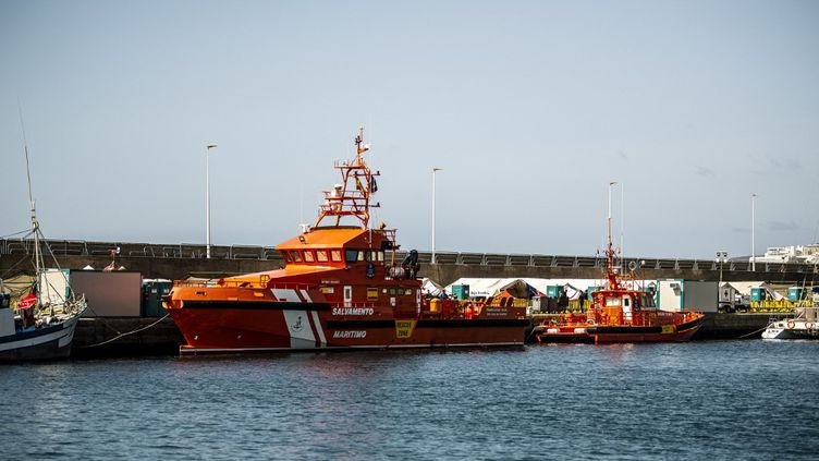 Un navire dans le port d'Arguineguín, dans les îles Canaries, le 26 octobre 2020. (BYRMO CAROLINA / AFTONBLADET / TT NEWS AGENCY / AFP)