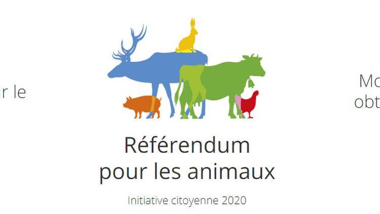 Capture d'écran du site internet défendant l'initiative pour un référendum sur la maltraitance animale. (REFERENDUMPOURLESANIMAUX.FR)