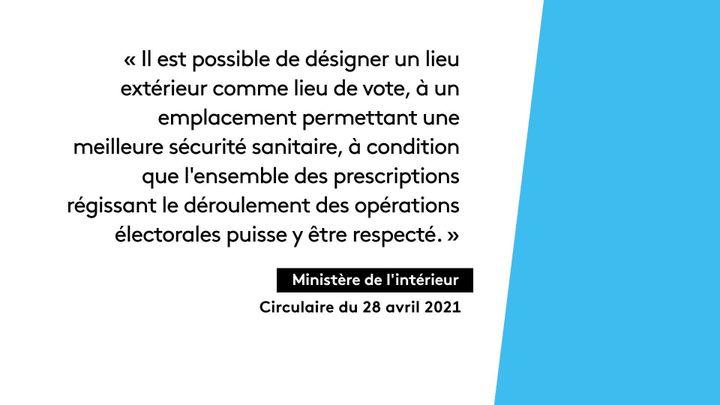 Circulaire du Ministère de l'Intérieur autorisant l'organisation d'une élection à l'extérieur (France 3 Hauts-de-France)