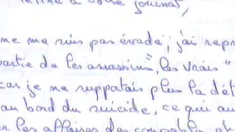 """Détail de la lettre postée par Jean-Pierre Treiber à l'hebdomadaire """"Marianne"""" (18/09/2009) (© France 2)"""