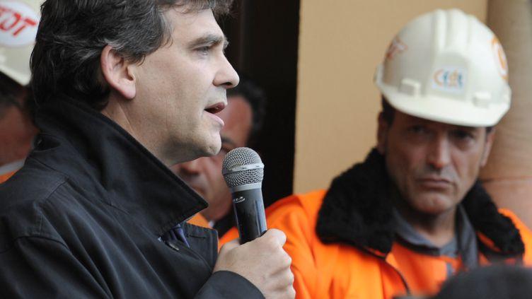 Le ministre du Redressement productif, Arnaud Montebourg,à Florange (Moselle), le 27 septembre 2012. (JEAN-CHRISTOPHE VERHAEGEN / AFP)
