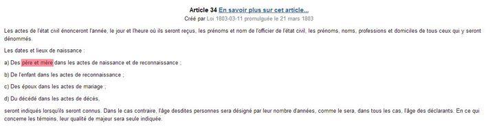 Capture d'écran du Code civil (FRANCETV INFO)
