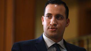L'ancien chargé de mission de l'Elysée, Alexandre Benalla, après son audition par la commission d'enquête du Sénat, à Paris, le 21 janvier 2019. (ALAIN JOCARD / AFP)