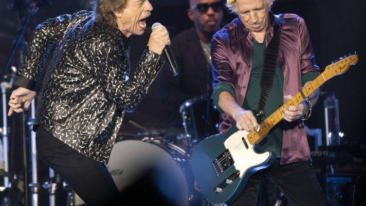 Mick Jagger et Keith Richards sur scène le 4 octobre 2021 àPittsburgh (Pennsylvanie, Etats-Unis). (EMILY MATTHEWS/AP/SIPA / SIPA)
