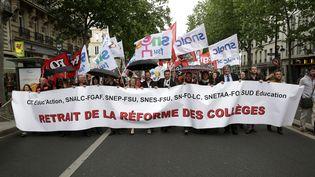 Des professeurs en grève contre la réforme du collège manifestent le 19 mai 2015 à Paris. (MAXPPP)