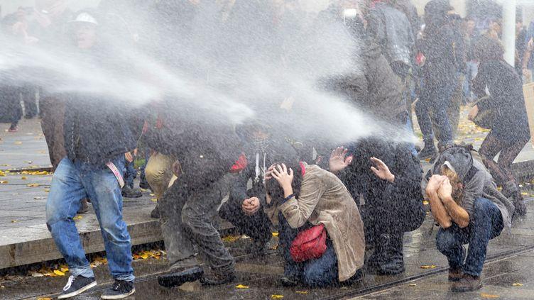 """Des manifestants contre les """"violences policières et judiciaires"""" à Nantes (Loire-Atlantique), samedi 22 novemvre 2014. (GEORGES GOBET / AFP)"""