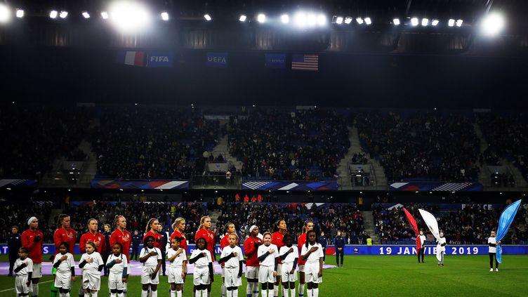 Les joueuses américaines avantune rencontre amicale contre les Françaises, le 19 janvier 2019au Havre (Seine-Maritime). (CHARLY TRIBALLEAU / AFP)