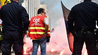 Manifestation des cheminots de la CGT le 6 juin 2016 à Lyon. (MAXPPP)