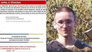 L'appel à témoins lancé par la gendarmerie de l'Hérault, le 13 mai 2021, pour tenter de retrouver Valentin Marcone. (Capture d'écran)