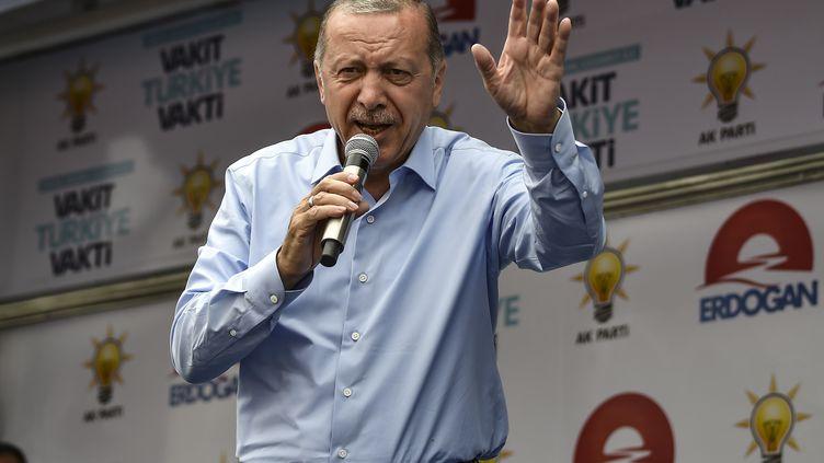 Le président sortantRecep Tayyip Erdogan, lors d'un meeting à Istanbul (Turquie) le 23 juin 2018. (ARIS MESSINIS / AFP)