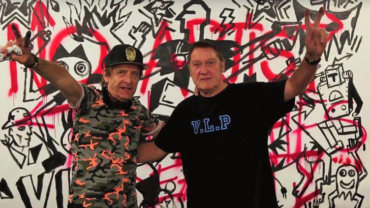 Performance des VLP, duo pionnier du street-art, pour la Nuit Blanche au Musée du street-art Art 42.  (Capture d'écran Jim Gabaret et Samuel Boujnah)