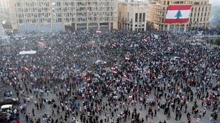 Manifestation contre le gouvernement à Beyrouth, le 8 août 2020. (THAIER AL-SUDANI / REUTERS)