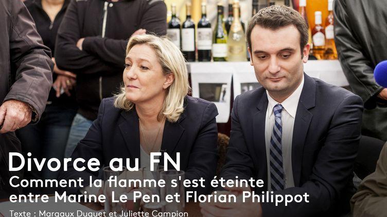 Marine Le Pen et Florian Philippot sur le marché de Noël des Champs-Elysées, à Paris, le 22 décembre 2014. (AURÉLIEN MORISSARD / CITIZENSIDE / AFP)
