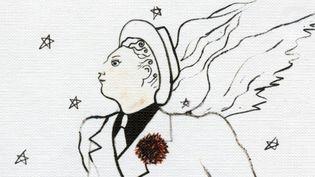 Détail de l'illustration du coffret Charles Trenet, dessin de Jean Cocteau  (Warner Music)