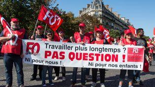 Des manifestants ont répondu à l'appel deForce Ouvrière pour protester contre la réforme des retraites, le 21 septembre 2019, àParis. (RICCARDO MILANI / HANS LUCAS / AFP)