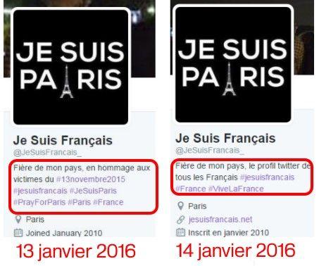 """Présentation du compte Twitter """"JeSuisFrancais_"""", avant et après notre appel à son responsable. (TWITTER / FRANCETV INFO)"""