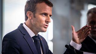 Emmanuel Macron le 7 juin 2018 à Montréal (Canada). (DAVID HIMBERT / HANS LUCAS / AFP)