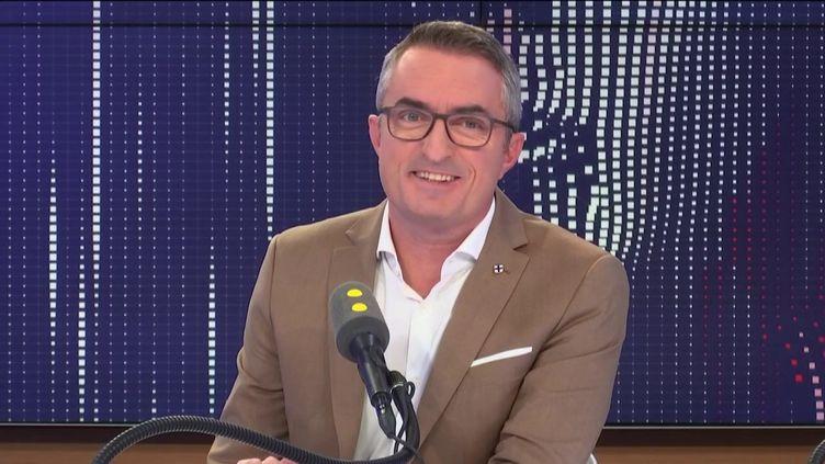 """Stéphane Ravier, candidat RN à la mairie de Marseille et sénateur des Bouches-du-Rhône,était l'invité du """"8h30 franceinfo""""le3novembre 2019. (FRANCEINFO / RADIO FRANCE)"""