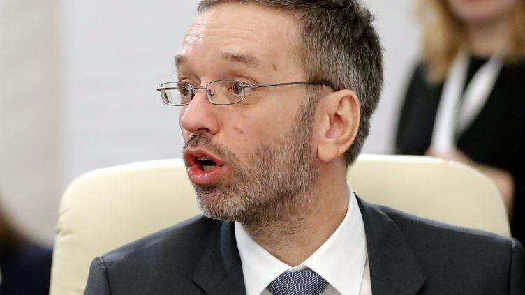 Herbert Kickl, ministrede l'Intérieur autrichien, membre de l'aile dure du parti populiste, le FPÖ (MAXPPP)