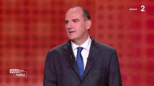 """Le Premier ministre Jean Castex sur le plateau de """"Vous avez la parole"""" sur France 2, le 24 septembre 2020. (FRANCE 2)"""