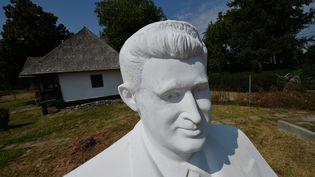 Une statue Nicolae Caucescu (1918-1989), devant la maison, où naquit l'ancien dictateur roumain. (DANIEL MIHAILESCU / AFP)
