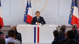 Emmanuel Macron lors de sa conférence de presse, jeudi 25 avril 2019. (LUDOVIC MARIN / AFP)