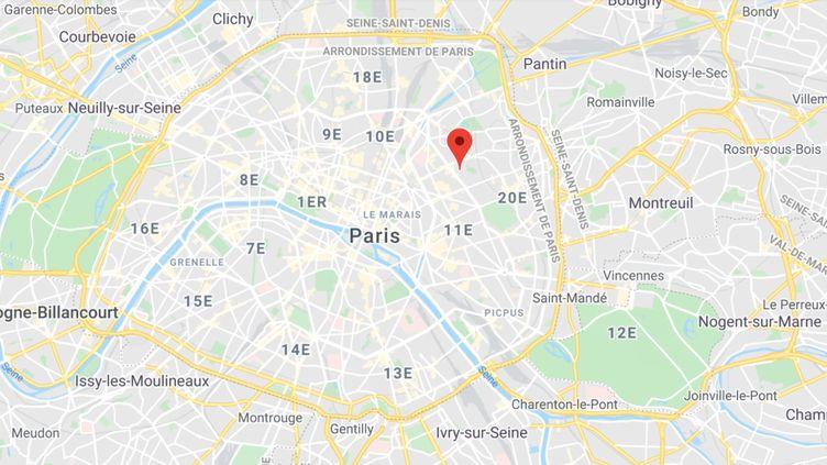 Rue Bisson dans le XXe arrondissement de Paris. (GOOGLE MAPS / FRANCEINFO)