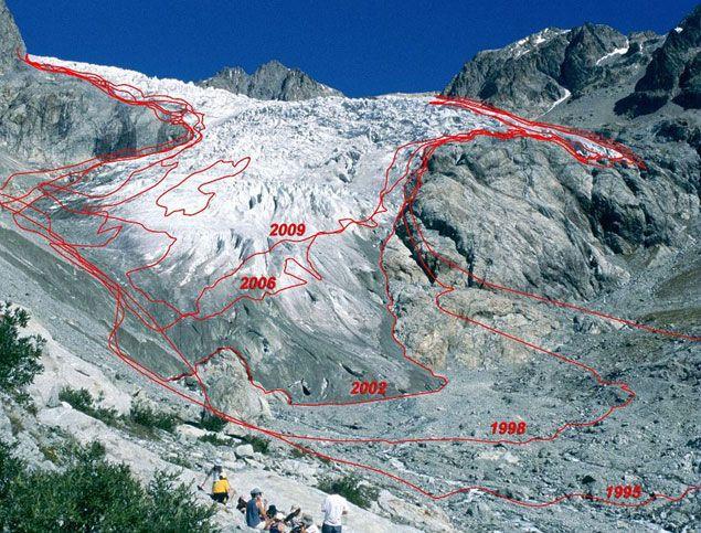 (Evolution de la fonte de la langue du glacier Blanc (Massif des Ecrins – Hautes Alpes) de 1995 à 2009. © Parc national des Ecrins)