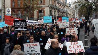 Une manifestation de patrons à Toulouse (Haute-Garonne), le 1er décembre 2014. (FRANCE 3 MIDI-PYRÉNÉES / FRANCETV INFO)