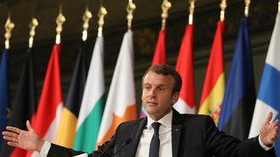 Le président Emmanuel Macron a prononcé un discours sur l'Europe dans à la Sorbonne, à Paris, le 26 septembre 2017. (LUDOVIC MARIN / AFP)