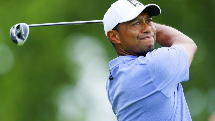 Tiger Woods au premier tour du Memorial Tournament à Dublin au club de golf de Muirfield, le 30 mai 2019. (MAXPPP)