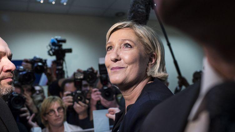 La présidente du FN, Marine Le Pen, au Congrès du parti à Lille (Nord), le 10 mars 2018. (YANN CASTANIER / HANS LUCAS / AFP)