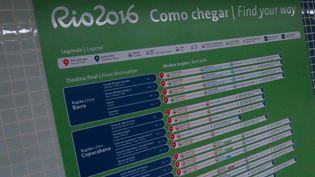 Un panneau indicateur installé dans de nombreuses stations de métro de Rio de Janeiro (Brésil) pour aider les usagers à rejoindre les nombreux sites olympiques, le 4 juillet 2016. (PIERRE GODON / FRANCETV INFO)