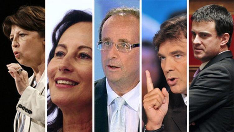 De gauche à droite : Martine Aubry, Ségolène Royal, François Hollande, Arnaud Montebourg, Manuel Valls (AFP / THOMAS COEX / Emmanuel Dunand / JOEL SAGET / Lionel Bonaventure)