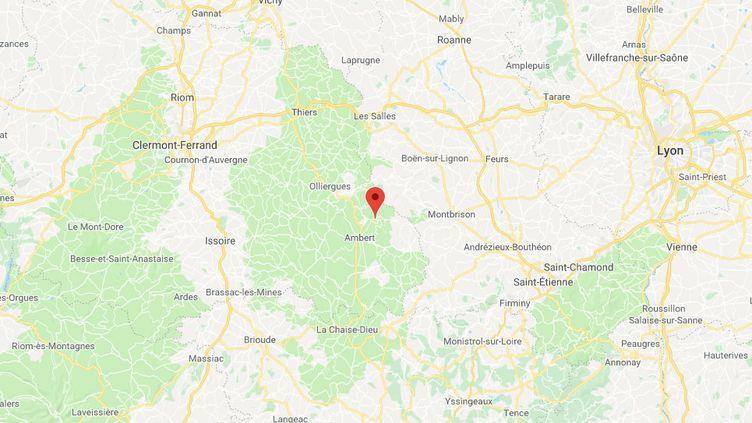 Le snowkiter avait disparu dans le col des Supeyres, sur la commune de Valcivières (Puy-de-Dôme). (CAPTURE ECRAN GOOGLE MAPS)