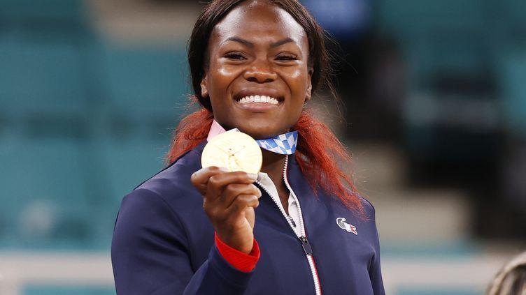 Le bonheur de Clarisse Agbégnénou en or olympique à Tokyo, le 27 juillet 2021. (MAXPPP)